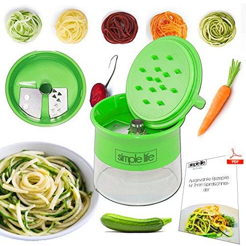Spiralschneider von simple life™ mit Rezeptsammlung - der Gemüseschneider als Küchenhelfer für Gemüsespaghetti, Zucchini, Gurken, Karotten, Rettiche und Süßkartofeln - mit Edelstahl-Klinge als