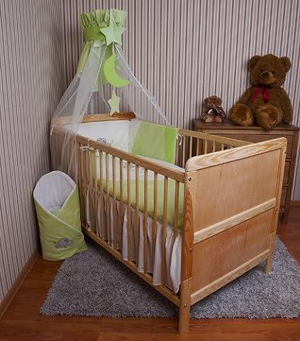 Parure de lit bébé ciel Tour de lit Set Avec Broderie 100x 135cm Neuf pour lit bébé éléphant vert mousseline ciel