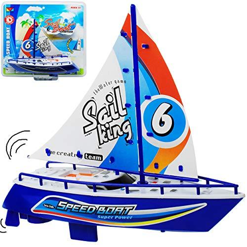 alles-meine.de GmbH 2 Stück _ Motor - Segelboote / Boote - mit Batterie - blau - schwimmt + fährt im Wasser - 24 cm - Wasserboot / Batterie betrieben - selbstfahrend elektrisch A..