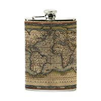 COOSUN World Map Drinking Flask with PU Leather Wrapped, Stainless Steel Leak Proof Liquor Hip Flask, 8 oz