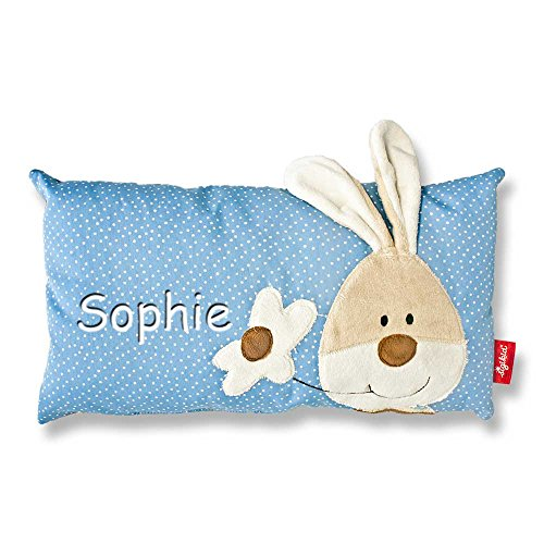 Preisvergleich Produktbild Sigikid Babykissen mit Namen bestickt Kissen 33x18 cm Geschenk zur Taufe Geburt (Semmel Bunny)