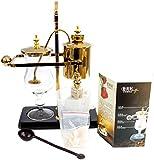 Belgium Royal Coffee Maker (Golden) - Kaffee Siphon Kaffeebereiter Kaffeesyphon Für 3-5 Tassen Im Gestell Für Die Schonende Zubereitung Eines Perfekten Kaffees