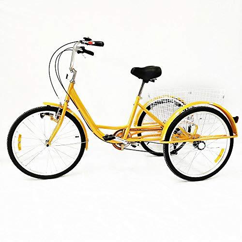 OUBAYLEW 24'Bici Triciclo a Tre Ruote del Triciclo della Bicicletta del Triciclo della Bicicletta di 3 velocità 3 + Cestino e Lampada (Giallo)