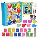 KRAFTZLAB Il Kit Definitivo per La Realizzazione di Candele - Fornitura Include Cera per Candele in 5 Colori, 7 Stampi per Candele, 10 Stoppini, 1 Tazza per Fondere E Altro