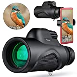TELMU Monocular for BirdWatching 12x50 High Power Bak4 Prism Monoculars Telescope Zoom Waterproof