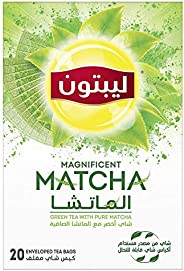 Lipton Pure Green Tea with Magnificent Matcha, 20 Bags - Pack of 1