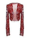 PrettyGuide Damen Pailletten Jacke Kurze Disco Tanz Langarm Bolero Clubwear Party Tops L Rot