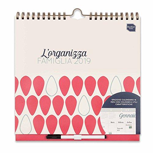 Boxclever Press L'Organizza Famiglia 2019. Calendario familiare, calendario da muro in italiano con vista settimanale con 6 colonne. Inizia ora e dura fino a Dicembre 2019