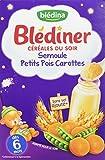 Blédina Blédîner Céréales Semoule Petits Pois Carottes Dès 6 Mois 240 g - Lot de 4
