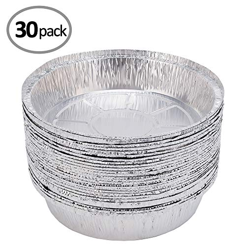 Aluminum Pans Foil Pans Dia 9 (30 Pack) Durable Chafing Pans Disposable Steam Table Baking Pans Round Half Size Deep Perfect for Baking, Roasting, Broiling, and Cooking, Cakes, Loaf