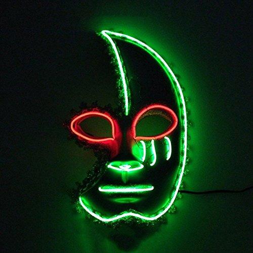 Masken Gesichtsmaske Gesichtsschutz Domino falsche Front Rave Party Leuchtende Maske Halb Gesicht Mondsichel Tanz Maske Rot und grün (Domino Maske Grüne)