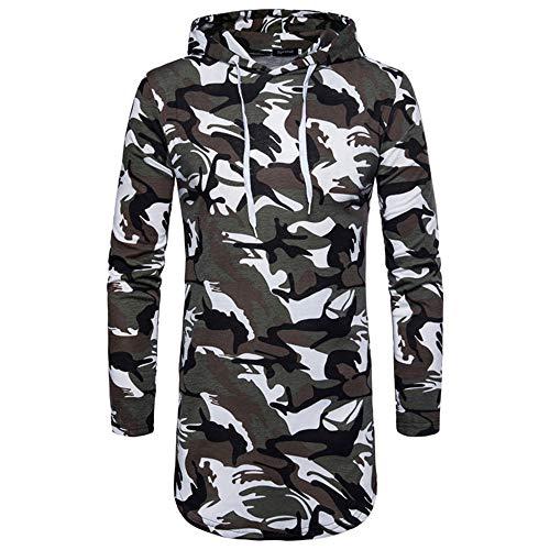 Herren Kapuzenpullover lang Mumuj Camouflage Langarm Oxford Formelle Hoodies Freizeit Bedruckte Anzüge Oberteile Slim Fit T-Shirts Frühling Herbst Winter Bluse