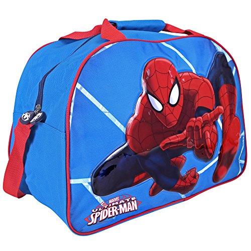 Perletti Sac de Sport Enfant Marvel Spiderman – Gros Sac Fourre-Tout Homme Araignée pour Gymnastique, Voyage et Loisirs – Bleu - 40x29x20 cm