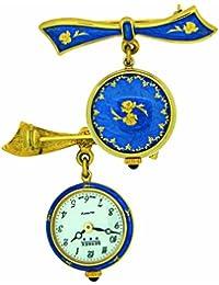 Bernex Swiss Made Gold Plate Ladies Bow Broach Watch (Blue Enamel/Gold plate)