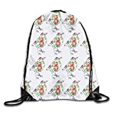 gthytjhv Kordelzug Bag Floral Birds Rucksack for Gym Hiking Travel Customized Color 07 Lightweight Unique 16.9x14.2