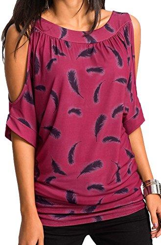 Jusfitsu Damen Sommer Schulterfrei Kurzarm Feder Druck Muster Tops T-Shirt Bluse, Rose, Gr. XL