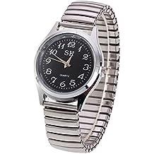 Fashion Simple Men Women Watch - Alloy Strap Arabic Numerals Easy to Wear Elastic Quartz Wrist Watch for Middle-aged and Elderly, Black Big