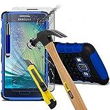 (Blau mit Pen) Samsung Galaxy A5 hülle stoßfest von Hybrid robustes Dual Layer Schwerlast Fall-Abdeckung mit Standplatz-Funktion ausgeglichenes Glas-Hartglas Displayschutz - versenkbaren Stift