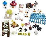 Super44day Fairy Garden miniature fixé kit miniature Paysage ornement Dollhouse Decor usine de style DIY Méditerranée y compris le poulet Cow Dog Elephant Lapin Hérisson Maison des cerfs Banc Mushroom faux Moss Clôtures...