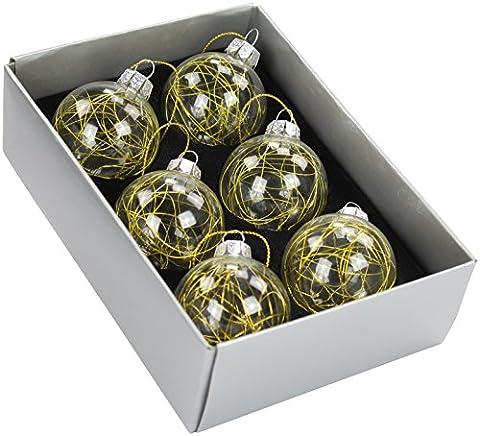 Glas Weihnachtskugeln 6 Stück gold