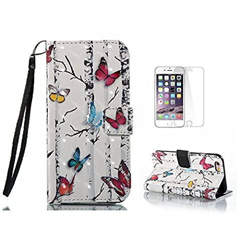 iPhone 6 Case, iPhone 6S Cover [With Free Tempered Glass Screen Protector],Fatcatparadise(TM) [Kickstand] High Quality Excellent Cover Case, Colorful 3D Pattern Design Flip Magnetic Premium Folio PU Leather Credit Card/Cash Holder Slots Wallet Fashion Ultra Slim Fit Protective Case Cover For iPhone 6/iPhone 6S (Colorful Butterfly)