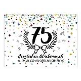 Große XXL Design Glückwunsch-Karte zum 75. Geburtstag mit Umschlag/DIN A4/Konfetti mit Jubiläumskranz/Schnaps-Zahl/Grußkarte