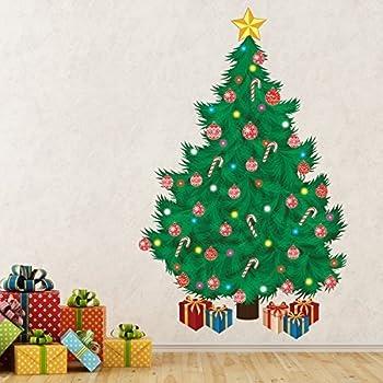 Wallflexi Christmas Decorations Wall Stickers Traditional Tree Murals Decals Living Room Children Nursery School