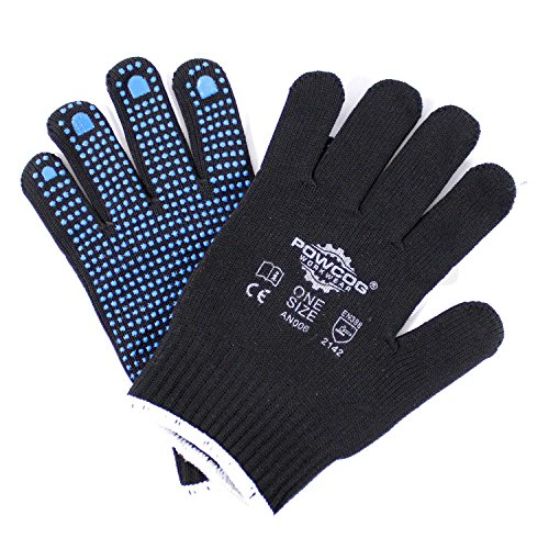 single-pair-of-nylon-safety-gripper-work-gloves-blue-pvc-polka-dots-ppe-warehouse-by-powcog