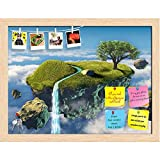 ArtzFolio Small Island Floating In The Sky Printed Bulletin Board Notice Pin Board cum Natural Brown Framed Painting 15.7 x 12inch