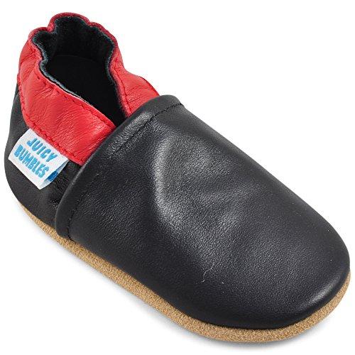 Mocassini neonato scarpe primigi bambino in morbida pelle - nero e rosso - 18-24 mesi