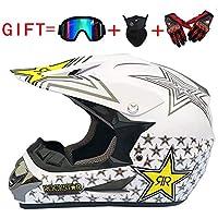 Adulto Motocross Casco MX Moto Casco ATV Scooter ATV Casco D. O. T Certified Rockstar con Gafas