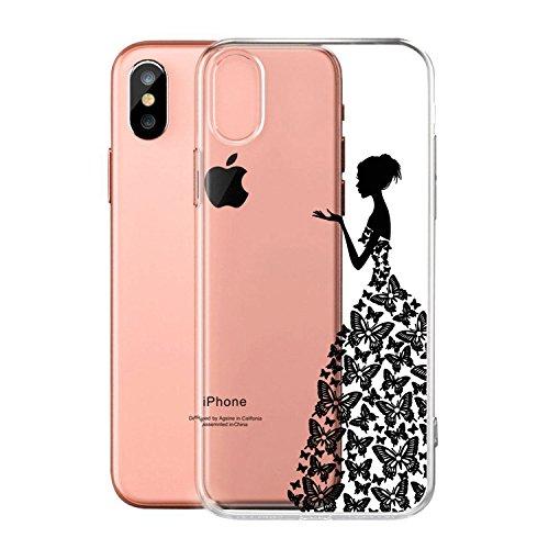 """Coque pour Apple iPhone X , IJIA Transparent Rose Fée Aux Fleurs Papillon TPU Doux Silicone Bumper Case Cover Shell Housse Etui pour Apple iPhone X (5.8"""") WM2"""