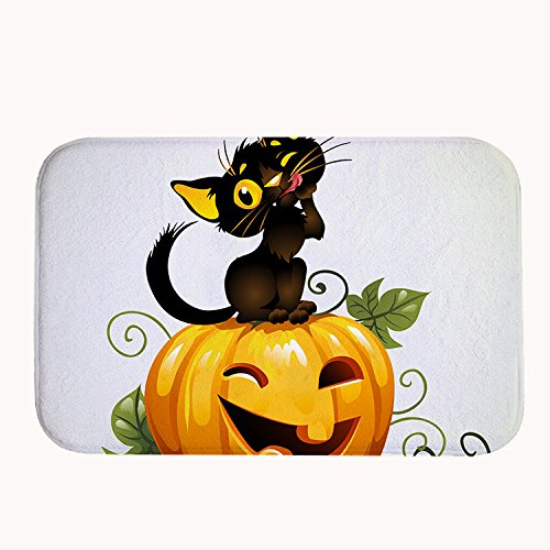 loween schwarze Katze und Kürbis Badteppich Coral Fleece Bereich Teppich Fußmatte Eingang Teppich Fußmatten für Vorderseite Außen Türen Eintrag Teppich, Korallenvlies, schwarz, 16