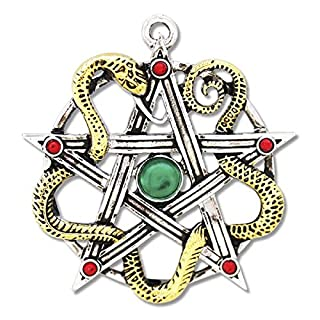 Pentagram Amulet Sulis Minerva, Beautiful, Two-Tone Look with Red and Green Cubic Zirconia