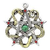 Pentagram, Amulett Sulis Minerva, traumhaft schön, bicolor, mit roten und grünen Zirkonia