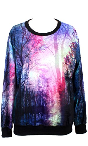 THENICE Femme impression manches longues Sweat-shirts Forest