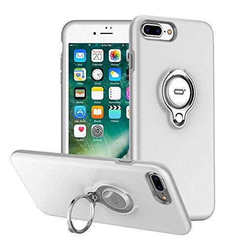 ICONFLANG iPhone 7 Plus Hülle, iPhone 8 Plus Tasche mit Ringständer, 360 Grad drehbarer Ring Grip Case, Dual Layer Stoßfest Schlagschutz für iPhone 8 Plus/7Plus,Kompatibel mit Magnetic Car Mount Dual-ring-mount