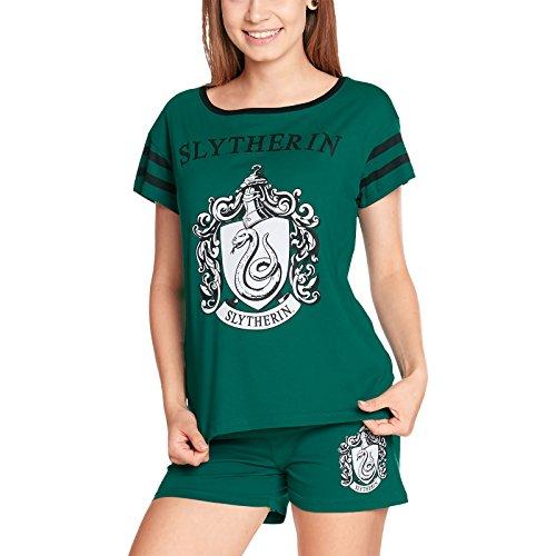(HARRY POTTER Damen Pyjama Slytherin Schlafanzug von Elbenwald Baumwolle grün - XS)