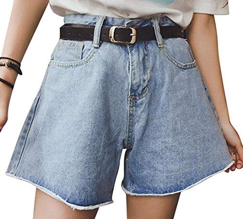 Donna estivi vita alta sciolto pantaloncini jeans larghi con tasca
