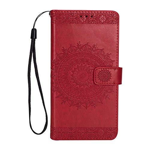 LG K10 2017 Hülle DENDICO Leder Case Flip Brieftasche Tasche [Kredit Karten] [Stand Funktion] Magnet Schutzhülle für LG K10 2017 - rot