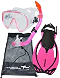 AQUAZON MIAMI Schnorchelset, Schwimmset, Tauchset, Taucherbrille mit anti fog tempered glas, Silkon, Semi Dry Schnorchel, verstellbare Flossen für Kinder, size:32/37, colour:pink