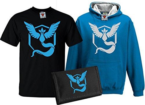 Ash Kids Shirt (Reality Glitch Kinder Deluxe Team Mystic T-Shirt, Contrast Kapuzenpullover & Wallet Set (Blau , 9-11 Years))
