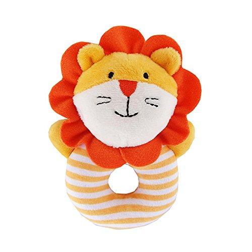 CTGVH Baby Rasseln Ring Plüsch Toys, Neugeborene Infant Educational Toys Weiches Plüsch Tier Form greifende Hand gefüllt Rasseln Puppen für Kleinkinder (Orange Löwe Grab Rassel Spielzeug) Hand Form
