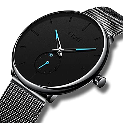 CIVO Mens Black Ultra Thin Watch Minimalist Fashion Luxury Wrist Watches for Men Business Dress Casual Waterproof Quartz Watch for Man with Stainless Steel Mesh Band and Sub Dial