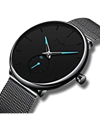 CIVO Mens Black Ultra Thin Watch Minimalist Fashion Waterproof Wrist Watches for Men Business Dress Casual Luxury Quartz Watch for Man with Stainless Steel Mesh Band and Sub Dial