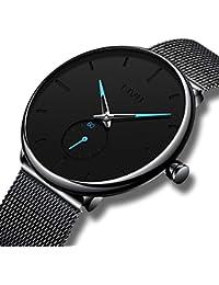CIVO Reloj Negro Ultra Fino para Hombre Minimalista Lujo Moda Relojes de Pulsera para Hombres Vestir Casual Impermeable Reloj de Cuarzo para Hombre con Banda Negro de Acero Inoxidable (1 Negro)