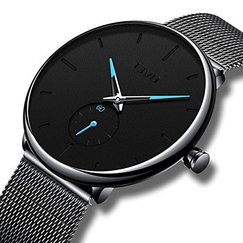 CIVO Reloj Negro Ultra Fino para Hombre Minimalista Lujo Moda Relojes de Pulsera para Hombres Vestir Casual Impermeable Reloj de Cuarzo para Hombre con Banda Negro de Malla de Acero Inoxidable