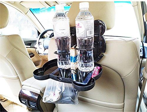 GFYWZ Auto Auto Rücksitz Klapp Faltbare Tisch Getränk Lagerung Halter Lebensmittel Cup Tray Organizer, 2 Stücke,Black