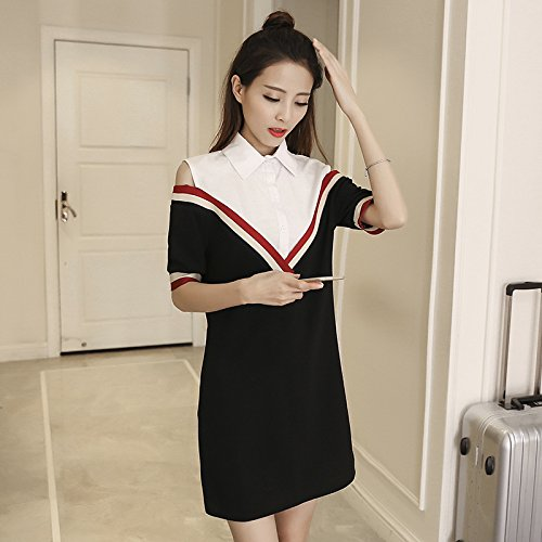 Emulation Kit (Die koreanische Version des Modisches Shirt nähen Emulation kit zwei kurze Röcke,S,Weiß)