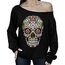 39a9d2105259db Rameng- Tunique Femme Tete de Mort Blouse Epaule Denudee Femme Tops T-Shirts  Haut
